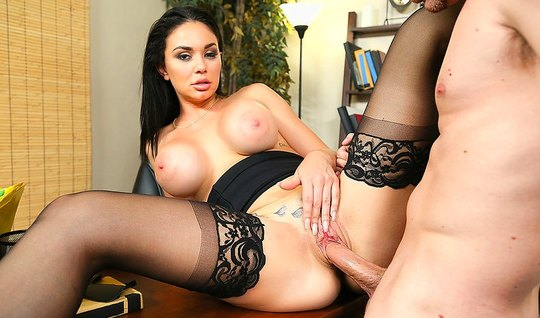 Secretary in stockings right in the office fuck with her boss...