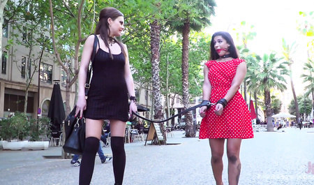 Liberated beauty indulges my submissive girlfriend in public...