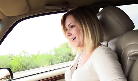 Cute blonde has sex in the car with an unfamiliar person...