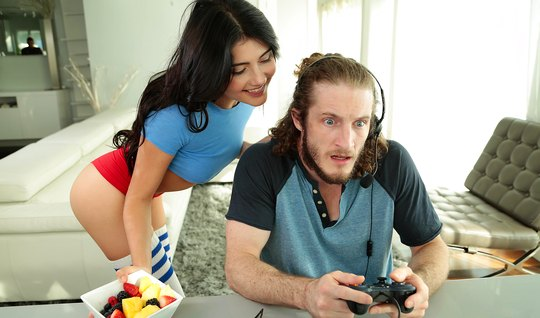 Sexy brunette seduces friend and wean him from video games...