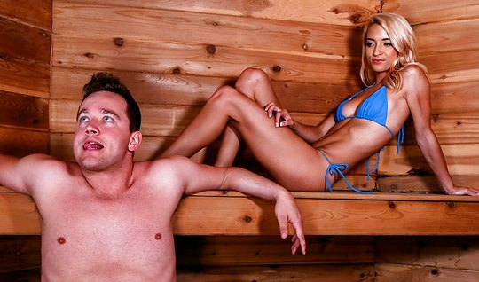 Blonde guy in the sauna suit has hot sex with orgasm...