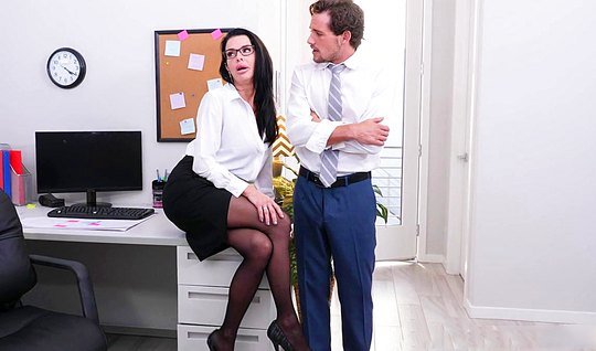 Assistant in the office eagerly fucking business lady in stockings...