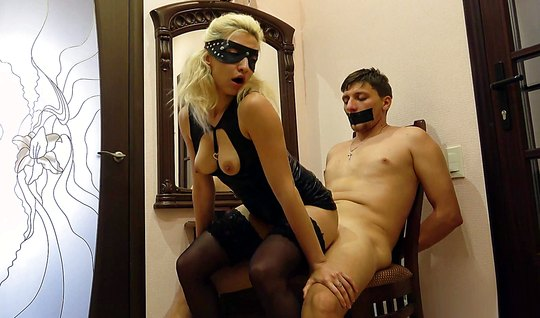 Nurse in mask tied up her lover Bang her wet pussy in front of the mir...