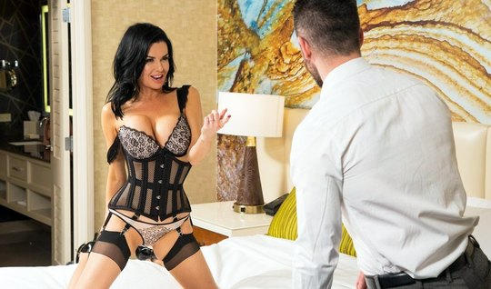 The nurse in lace lingerie undresses in front of a man and shakes boot...