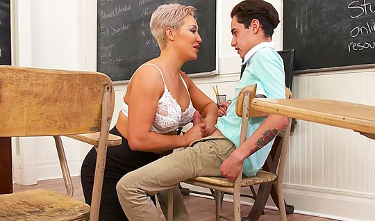 Mature mom seduced student and pushed my legs wide for him in College...