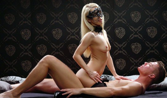 Blonde with mask on her face and dominates her lover and gets on top...