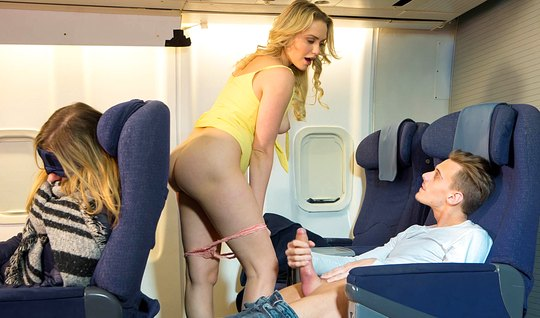 Blonde Fucks with stranger on the plane when the passengers