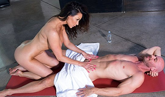 Babe with big milkings did massage and framed pussy for love...
