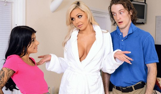 Curly guy fucked his young wife and her Busty nurse...