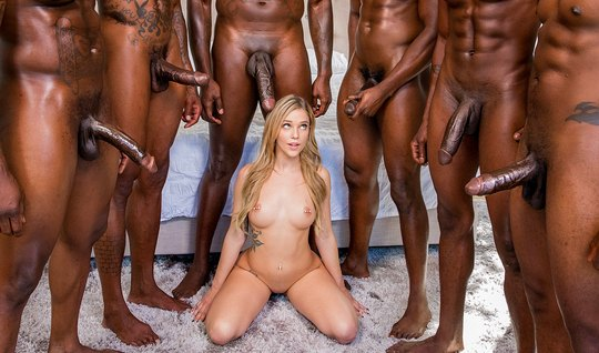 Slender blonde obkonchalsya from large members of blacks in group sex...