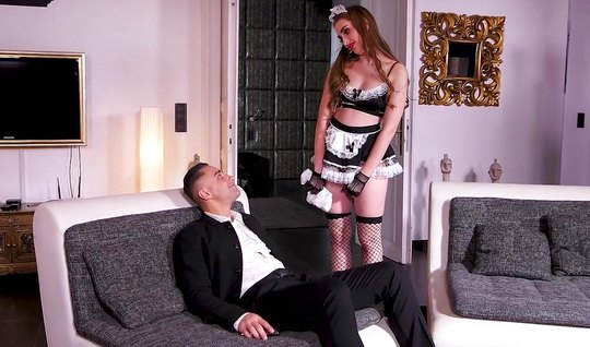 Bootyfull brunette in the image of the maid Fucks with her lover in th...