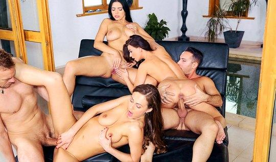 Young students in the pool staged a Swingers Orgy with exchange partne...