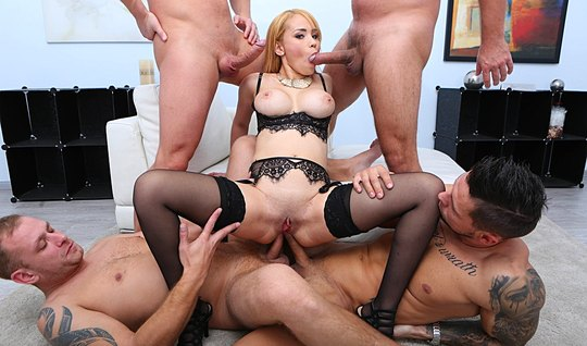 Double penetration brings white-haired chick to the rapid orgasm...