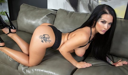 Brunette with tattoos on the buttocks Masturbates and moans from fuck ...