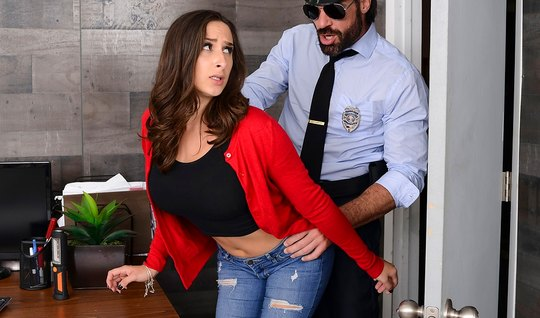 Bearded policeman licked pussy brunette and fucked her in the throat o...