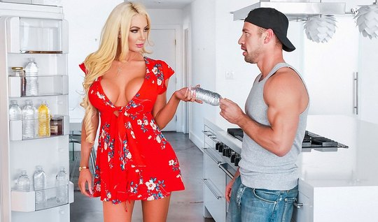 Blonde cheating fat with muscular hunk on the kitchen floor