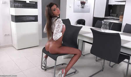 Sweet girl with juicy ass shows her charms...