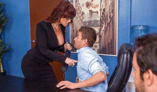 Business woman Fucks boss on office Desk closeup...