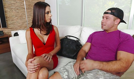 The brunette gave to lick their holes and fucked a guy on the couch...