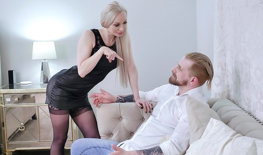 My husband watches from the side, as an experienced wife in stockings ...