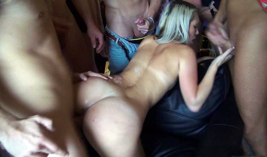 Drunk blonde in a circle at the party offers their holes the men for c...