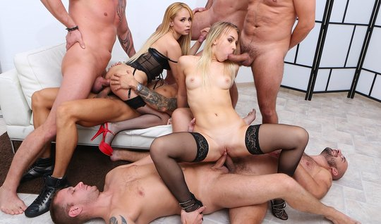 Blonde in stockings in group Orgy fuck with double penetration...