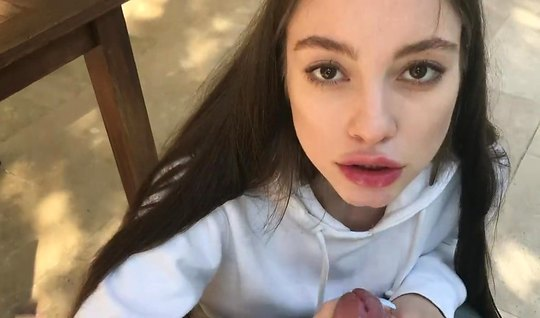 Brunette on her knees has agreed to suck the guys dick with a video ca...