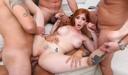 Redhead slut loves group Orgy and double penetration
