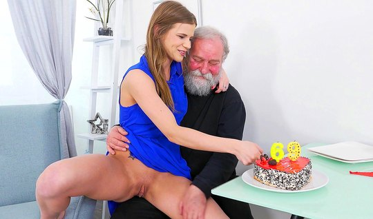 The old man had brought home a young brunette and fucked her on the co...