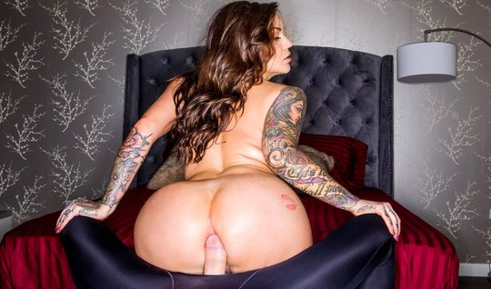 Tattooed Karmen Karma cum from the fat cock lover in the ass...