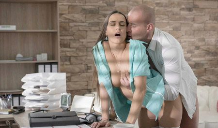 Sexy nurse fucking a patient in the office