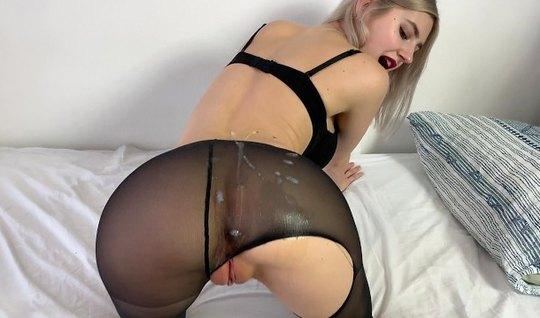 Russian blonde Teeny tin stood Racha in stockings and took the cum on ...