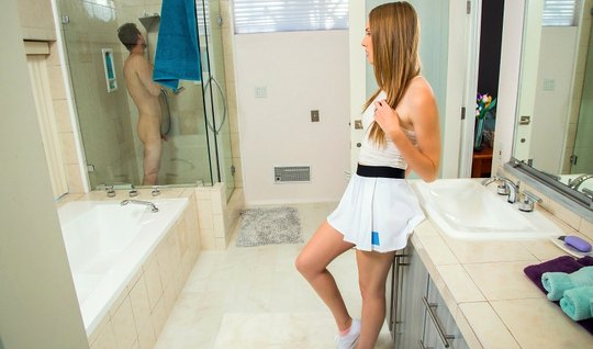 Redhead Ashley lane gets fucked hard in the bathroom around the mirror...