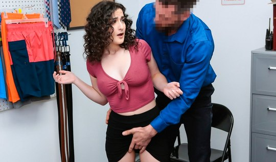 Curly Lira Lockhart undressed in front of the head in the back room an...