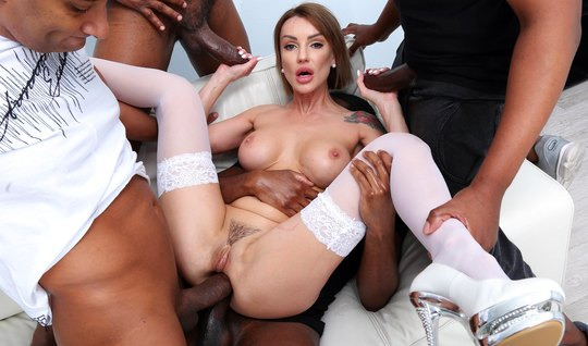 A crowd of blacks with big cocks staged for beauty double penetration...