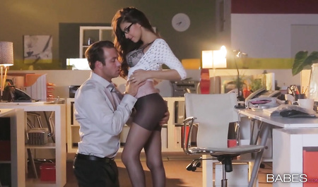 Tender sex with a Busty Secretary in office after work...