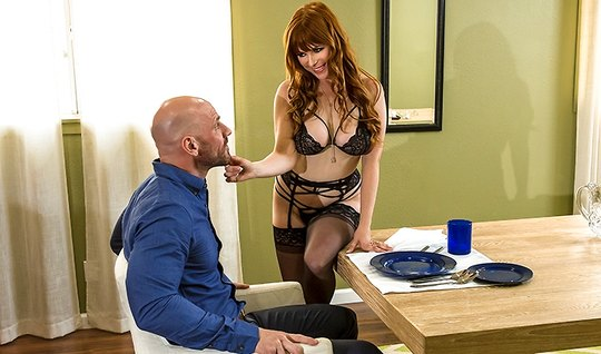 Redhead woman in stockings seduced by a bald guy hot dick...