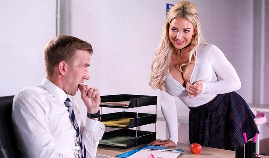 Blond girl with big milkings during a lesson, have sex with teacher...