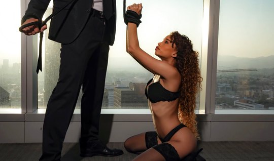Docile mulatto in stockings today plays the role of an obedient slave ...