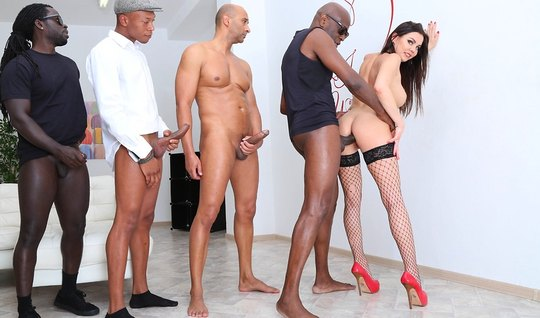 One babe in stockings and a crowd of Negroes staged in the room Orgy w...