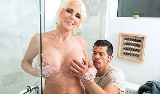 Mature lady after shower having sex with her stepson...
