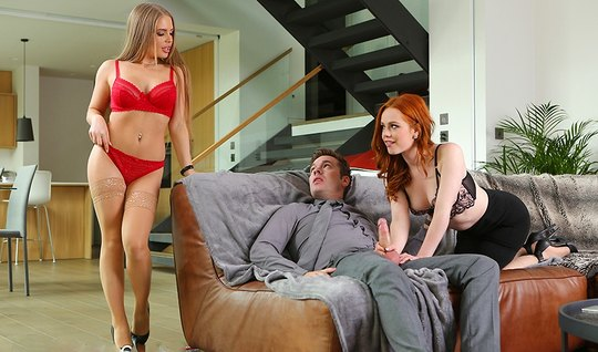 Redhead girlfriend with a blonde in stockings gave the guy group sex...
