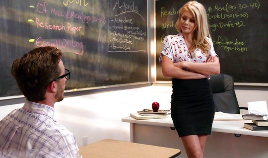 Student blonde teacher in stockings right in the classroom have sex