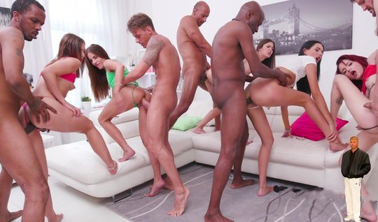 Girls and bunch of guys in one living room arranged anal Orgy