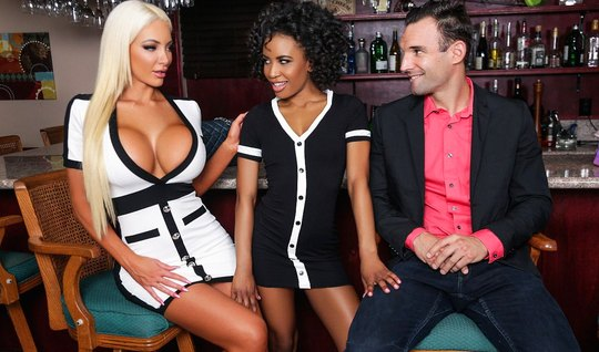 Mulatto and blonde with big milkings love a Threesome