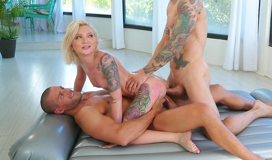 Erotic massage ends with a double penetration with tattooed guys...