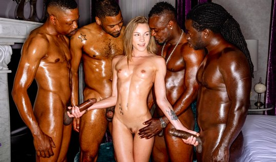 Groupsex with blacks gave the young girl double penetration