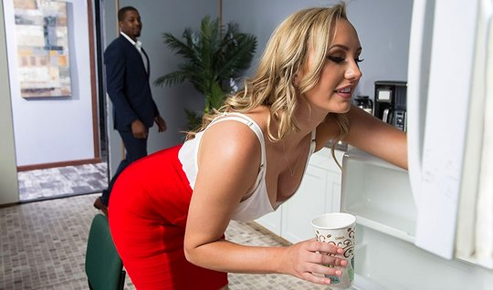 Blonde Secretary in stockings has sex with inflated Negro...