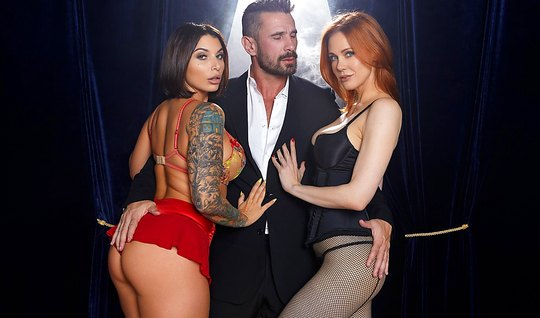 Tattooed brunette and redhead damsel love group sex...