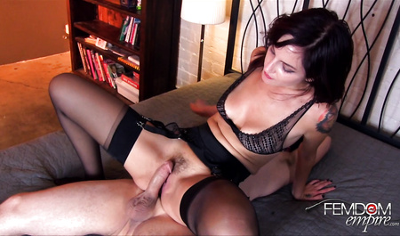 Slut tied a guy to the bed and dominated...